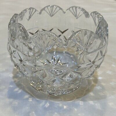 """Crystal Votive Candle Holder Cleat Glass Scalloped Candy Flower Bowl 3""""W x 2""""H"""