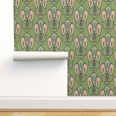 Removable Water-Activated Wallpaper Frog 1920S Style Art Decor Green Artwork