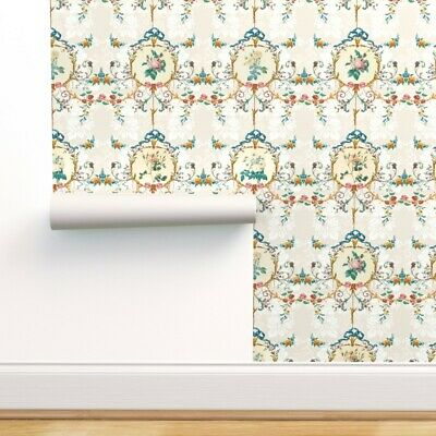 Removable Water-Activated Wallpaper Vanilla Damask Toile French Country Rococo