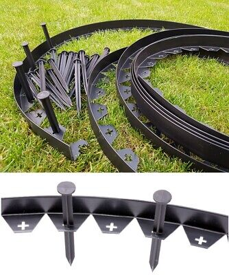 Garden Lawn Edging Strip Flexible Plastic Border 10m + 50 STRONG Pegs