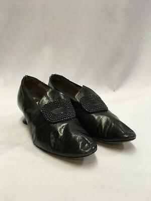 Vintage 1920s  1930s Black leather Shoes  Size 5 Buckle tab flapper Charleston
