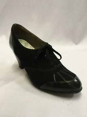 Vintage 1940s  Black Suede leather Lace up Shoe Boot Size 5 utility WW2 VE day