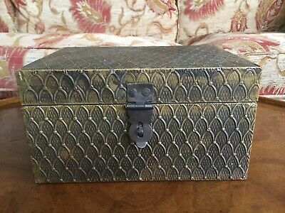 Arts & Crafts Brass Covered Lockable Box