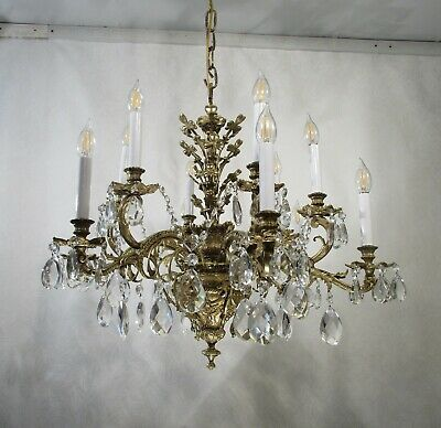Antique Vintage French Dore Bronze Crystals Extraordinary 12 Light Chandelier