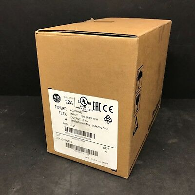 2016 New Allen Bradley 22A-A2P1N103 PowerFlex 4 AC Drive .5 HP 2.3A 1PH 240V VFD