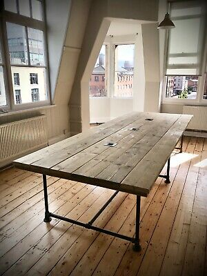 Industrial Boardroom Table. Office Conference Meeting Room Restaurant Dining