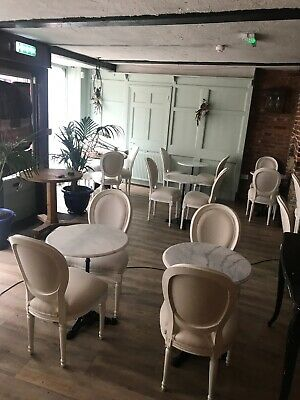 12 x Chalky White, Shabby Chic French Balloon Back Chairs