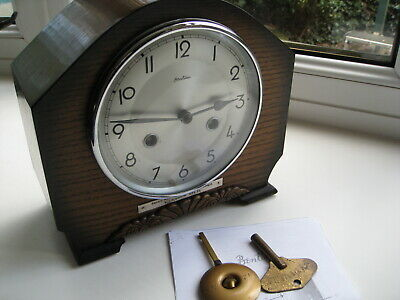 "Lovely Art Deco 8 Day Striking mantle clock by ""Bentima"" Perfect working order."