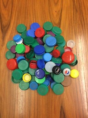 100 Assorted Plastic Bottle Tops/Lids For Art & Crafts - Various Colours