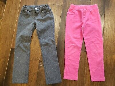 Girls Pink and Gray Jeggings Leggings Pants Size 6 6X Lot Of 2 Pairs