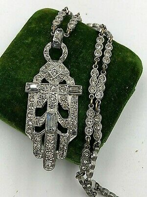 Antique Necklac Art Deco Orig Pot Metal Chain Pendant Pave Set Paste Rhinestones