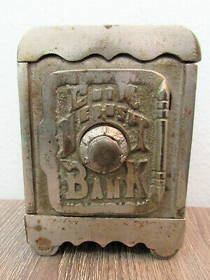Antique Old Mini Coin Deposit Bank; Combination Included! Metal Still Coin Bank