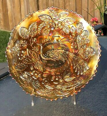 Vintage Carnival Glass Fenton Peacock and Urn Plate in Marigold