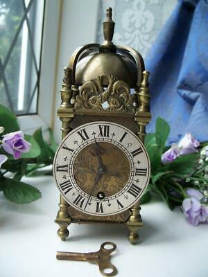 Handsome Vintage 8 Day English Brass Lantern Mantle Clock Gwo