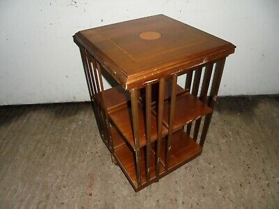 inlaid  EDWARDIAN MAHOGANY TABLE TOP REVOLVING/ROTATING BOOK CASE~BOOKSHELF