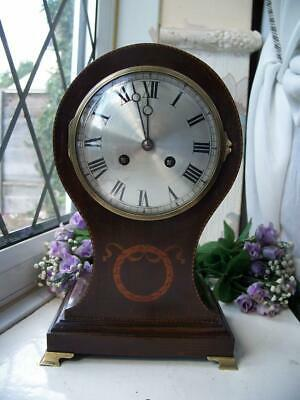 Lovely Antique Mahogany Inlaid French Balloon Clock Striking Mantle Clock C1900