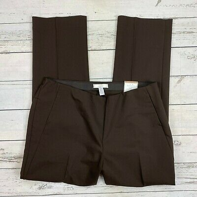 Chicos Ultimate Fit City Chic Pants Size 2.5 Short Womens 14 Side Zip Brown