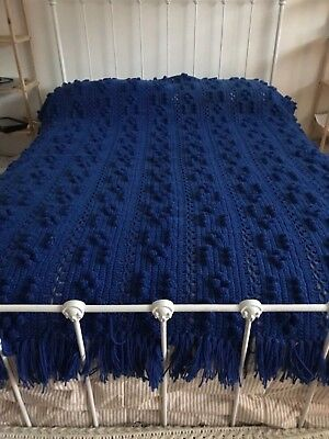 """Hand Knitted Afghan Cable Stitch Royal Blue 76"""" L X 53"""" W (New) Acrylic Fringed"""