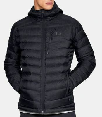 NEW Under Armour Men's ISO Down Hooded Jacket, H-Storm  NWT Size Large/Black
