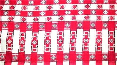 "Vtg 46X71 Red Gingham ""A"" With Flower Cotton Tablecloth Craft Picnic Farmhouse"
