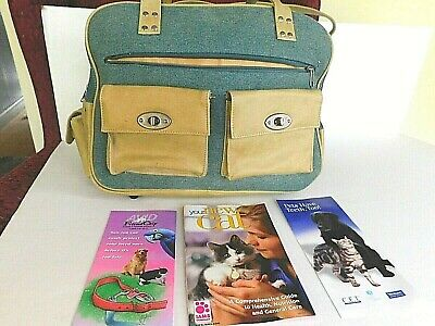 Portable Pet Cat Dog Animal carrier Soft Tote purse Luggage travel green tan NEW