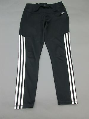 Adidas Size L (16-18) Girls Youth Black Elastic Band Climalite Track Pants 658