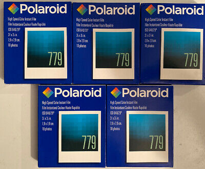 New Vtg Polaroid 779 Instant Color Film Exp. 02/05- 5 Packs -10 Photos Per Pack