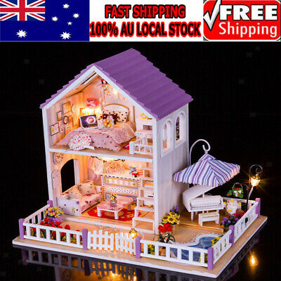 DIY Wooden Kids Dolls House Room Miniature Kit Play Toy Christmas Home Gifts AU