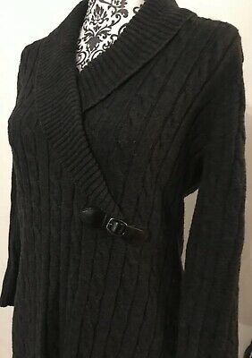 Calvin Klein Womens Cable Knit Sweater Dress Sz M Gray Collar Buckle Accent
