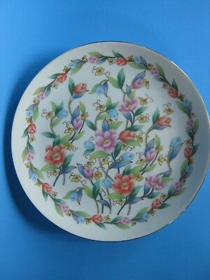 Vintage Kutani Floral/ Flowers- Pink/ Orange/ Blue Decorative Plate-Japan-Unused