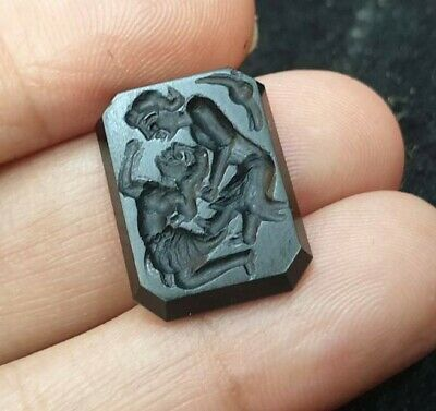 Antique Black agate Intaglio Greek God Couple Lover Affection Seal Stamp Bead