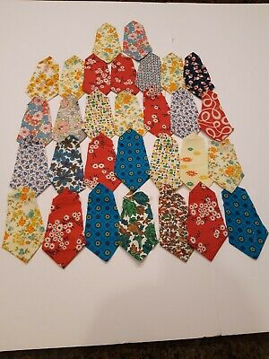 Vintage Lot 30 Quilt Top Patches Feed Sack & Cotton Fabric