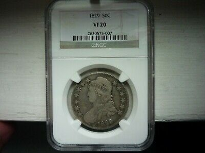 1829(Ngc)(Vf20) Capped Bust Lettered Edge Half Dollar - Nice Toning ++++