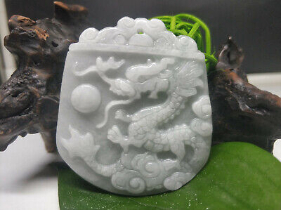 AAAAA Chinese Hand-carved aristocratic wearing Jadeite jade pendant Dragon 01