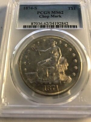 1874-S Trade Dollar PCGS MS 62 Chop Mark ** Highly Sought After Silver Dollar!