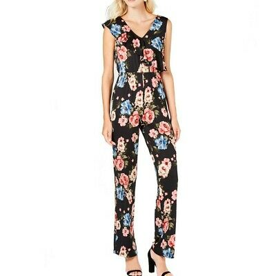 NY COLLECTION Women's Black Combo Petite Printed Flounce-trim Jumpsuit PXS TEDO