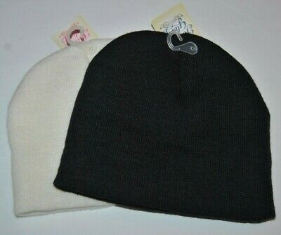 Faded Glory Black & White Knit Beanie Hats, Youth One Size