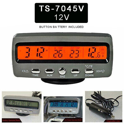 4In1 12V Car LED Digital Display Voltmeter Voltage Clock In/Outdoor Thermometer