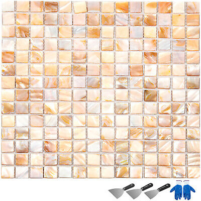 25 x 25MM Mother Of Pearl Mosaic Tiles River Bed Nature Pearl Shell Mosaic Square White 25MM by XUAN