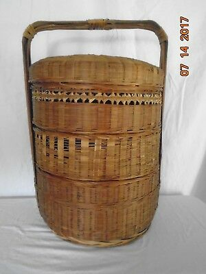 Vintage Chinese Wedding Basket 3 Tier Stacked Woven wicker Stacking Baskets