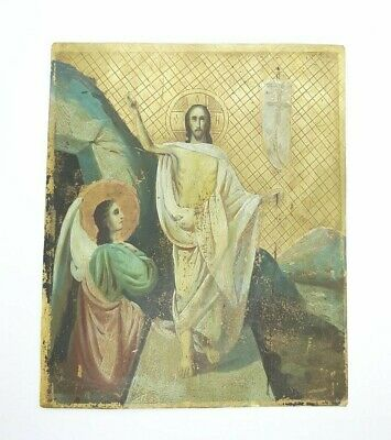 Antique Russian Icon Double-sided in Metal Virgin, Resurrection of Christ 19th c