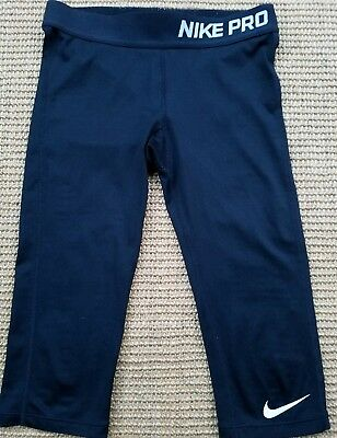 EUC! Girls Nike Pro Capris Dry-Fit Black Leggings Size Small