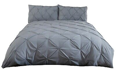 Balmoral Duvet Cover Set - Single Bed Size - Grey - Pleated - Pintuck