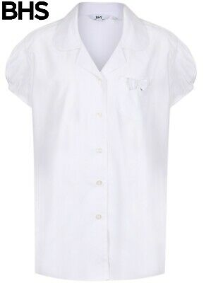 NEW Girls White BHS Polo Shirt School PE Age 4 5 6 8 10 Years Scallop Collar
