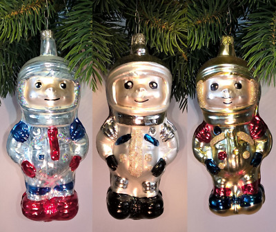 Thuringian christmas tree glass decoration – 3 x Astronaut – Made in Germany
