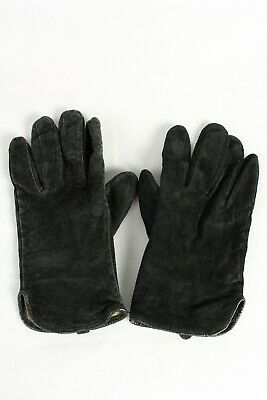 Vintage Womens Suede Leather Gloves Lined Size Retro 70s Ladies L Black - G105
