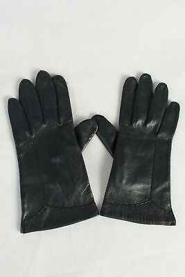 Vintage Womens Leather Gloves Lined  Smart Classy Retro 1970s   Dark Blue - G98