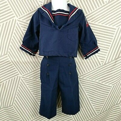 Vintage Baby Boys Sailor Outfit Navy Blue 2 Piece Suit 12 Months USA Made