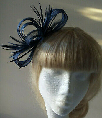 Navy Blue Fascinator on headband for wedding/mother of the bride/races