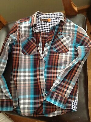 Ben Sherman Boys Shirt 6-7 Years Checked Blue Brown Cotton Used Great Condition